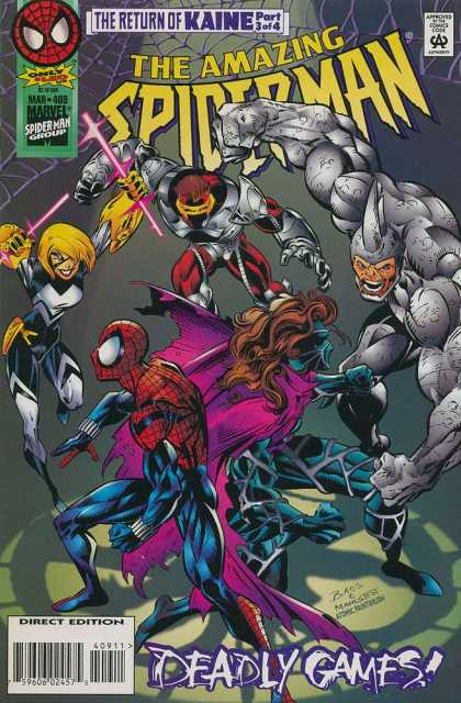 Amazing Spider-Man 409 - The Return Of Kaine - Marvel - Approved By The Comics Code Authority - Deadly Games - Direct Edition - Mark Bagley