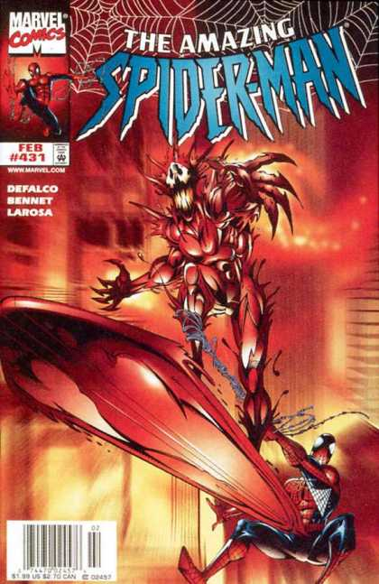 Amazing Spider-Man 431 - Claws - Skull Like Face - Red Background - Spider Web - Spikes - Bud LaRosa