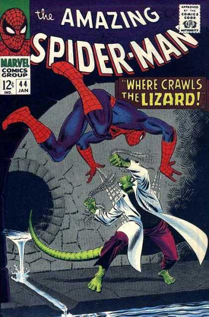 Amazing Spider-Man 44 - Lizard - Approved By The Comics Code Authority - Marvel Comics Group - 44 Jan - Fight