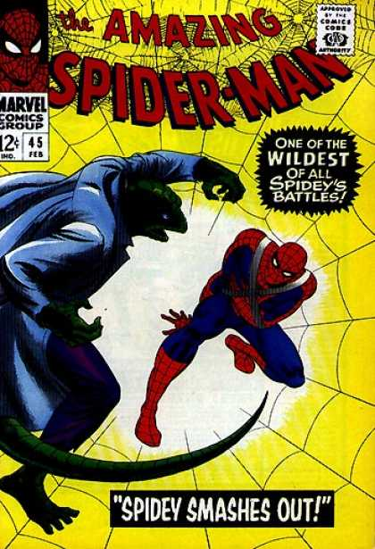 Amazing Spider-Man 45 - Lizard - Web - The Amazing Spider-man - One Of The Wildest Of All Spideys Battles - Spidey Smashes Out