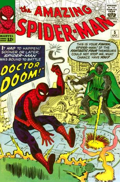 Amazing Spider-Man 5 - Doctor Doom - Spiderman - Web - Machines - Approved By The Comics Code Authority