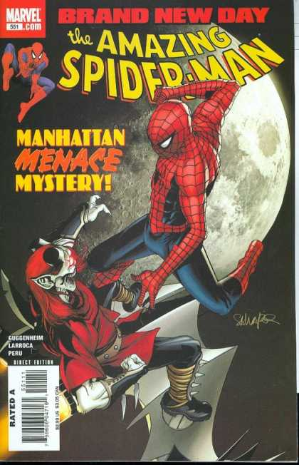 Amazing Spider-Man 551 - Brand New Day - Manhattan Menace Mystery - Larroca - Earth - Space Fight - Salvador Larroca, Stephane Peru
