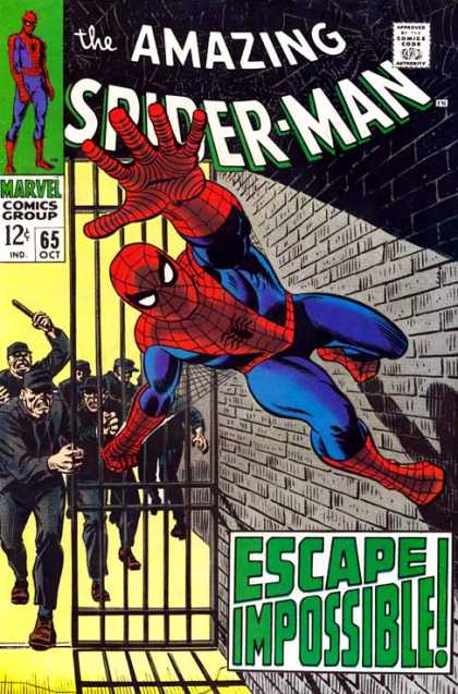 Amazing Spider-Man 65 - Metal Bars - Brick Wall - Dark Uniforms - Chasing - Baton