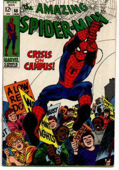 Amazing Spider-Man 68 - Pickets - Students - Signs