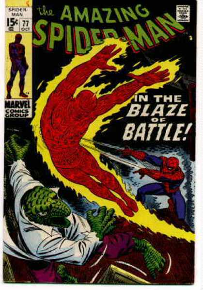 Amazing Spider-Man 77 - The Blaze Of Battle - Lizard - Marvel Comics - Fireman - White Shirt