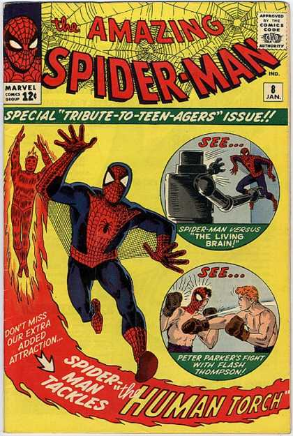 Amazing Spider-Man 8 - Human Torch - Flash Thompson - Robot - Boxing - Marvel Comics Group