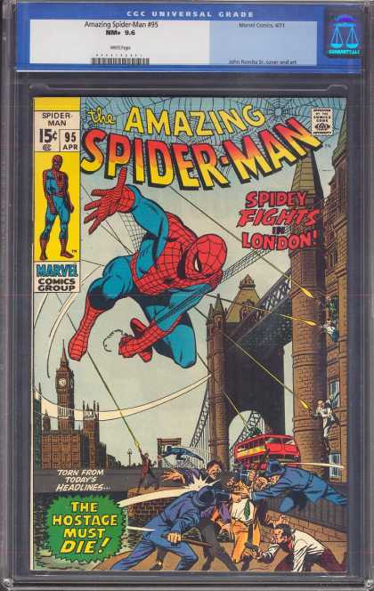 Amazing Spider-Man 95 - London - Bus - London Bridge - 15 Cents - Fights In London