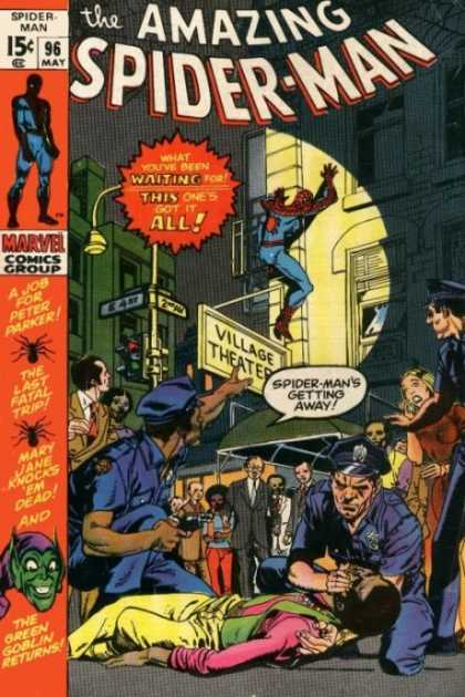 Amazing Spider-Man 96 - Police - Green Goblin - Cops - Spotlight - Crowd