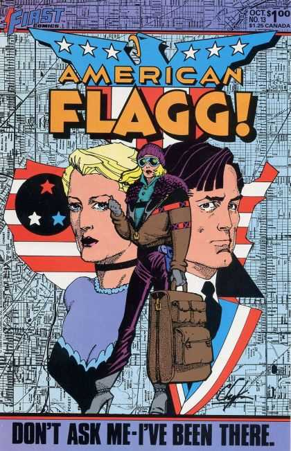 American Flagg 13 - Stars - Eagle - Glasses - First Comics - Dont Ask Me-ive Been There