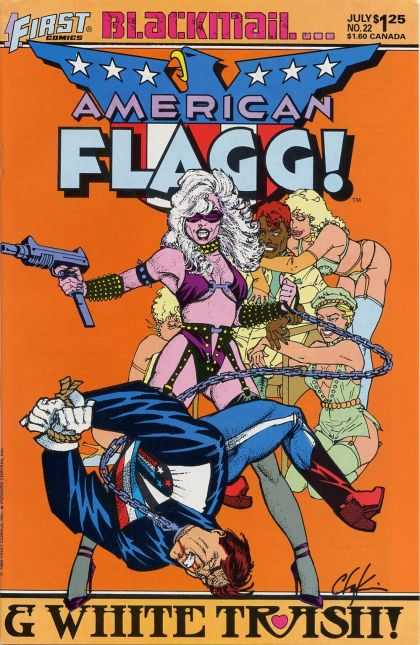 American Flagg 22 - First Comics - Blackmail - Woman - White Trash - Chain