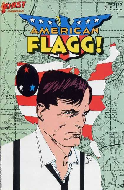 American Flagg 41 - United States - Strips - Stars - Map - Man