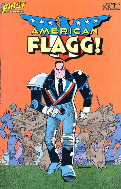 American Flagg 42 - First - July - Stars - One Superior - Robots