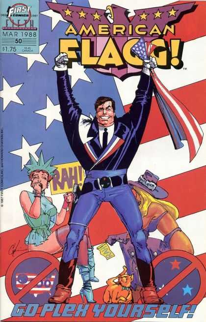 American Flagg 50 - First Comics - Purple Eagle - Go Plex Yourself - Lady Liberty - Cat