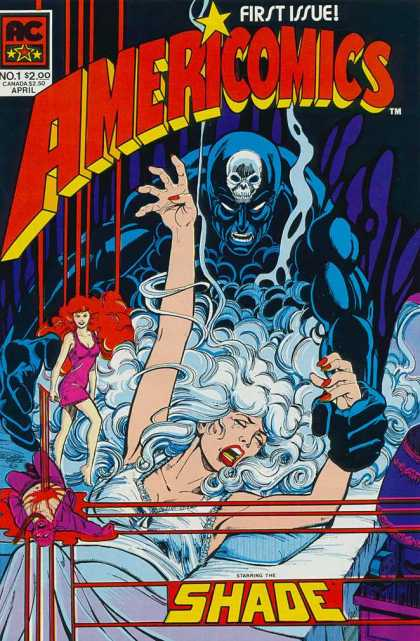 Americomics 1 - Issue Number 1 - Shade - White Haired Woman Screaming - April Issue - Skull In The Background - George Perez