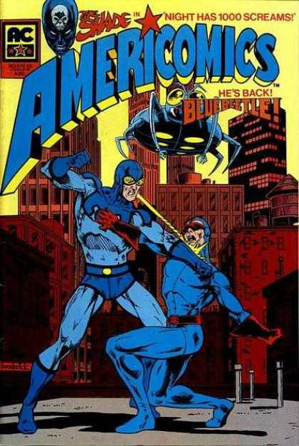 Americomics 3 - Blue Beetle - Fighting - Downtown - Buildings - Blue