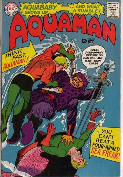 Aquaman 25 - Aquababy Grows Up - Think Fast Aquaman - Sword In Hand - Knife In Hand - Sea Freak - Nick Cardy, Patrick Gleason