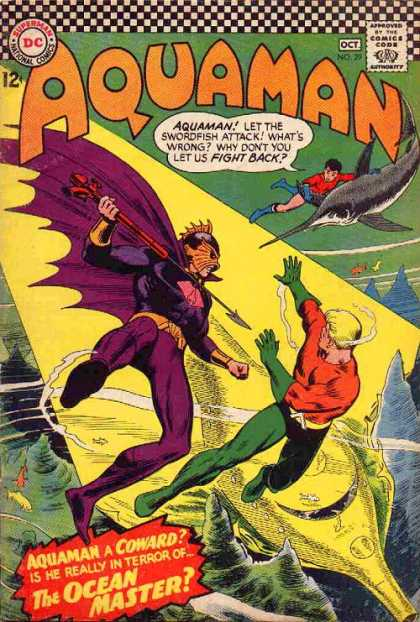 Aquaman 29 - Swordfish - Cape - Underwater - Spear - Mask - Nick Cardy, Patrick Gleason