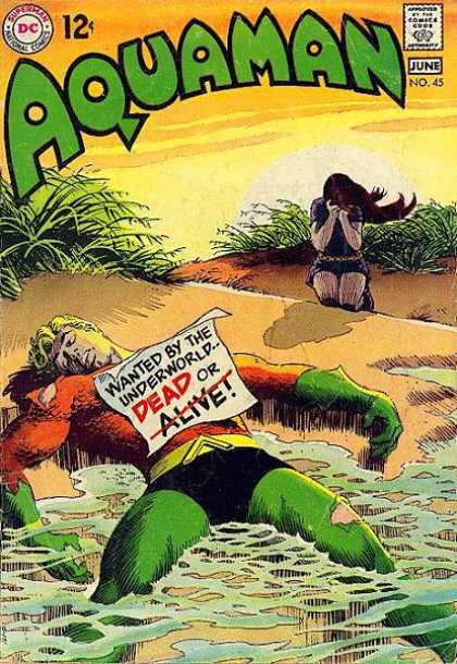 Aquaman 45 - Beach - Water - Sunset - Crying Girl - Green Gloves - Nick Cardy, Ron Lim