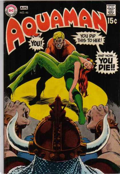 Aquaman 46 - Die - Woman - Hercules Cap - Green Suit - Carry Woman - Nick Cardy, Ron Lim