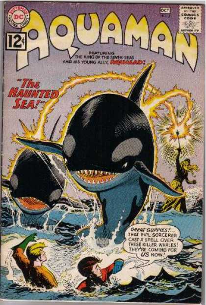 Aquaman 5 - The Haunted Sea - Whales - Great Guppies - Lightening - Waves - Nick Cardy, Yvel Guichet