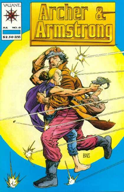 Archer & Armstrong 0 - Crossbow - July Issue - Deflecting Bullets - Man Carrying Another Man - Spotlight - Barry Windsor-Smith