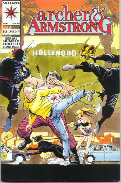 Archer & Armstrong 14 - Hollywood Sign - Kick - Knife - Barking Dog - Gunfire