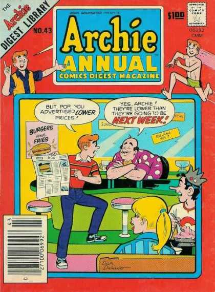 Archie Annual Digest 43 - Pops Diner - No 43 - Betty And Jughead - Burgers And Fries - Soda Fountain