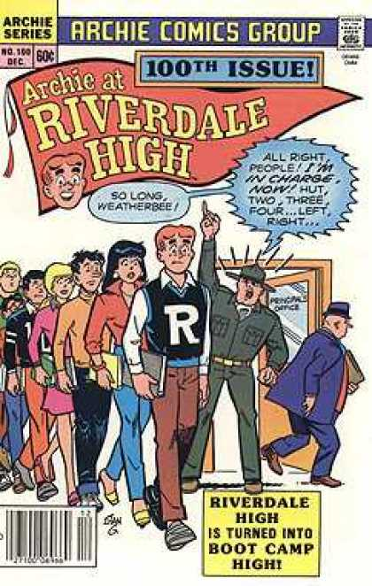 Archie at Riverdale High 100 - Archie Comics Group - 100th Issue - Letter Jacket - Army Man - Boot Camp - Stan Goldberg