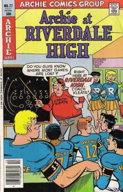 Archie at Riverdale High 77 - Archie Comics - Football Games - Cheerleader - Riverdale High - Team Meeting - Stan Goldberg
