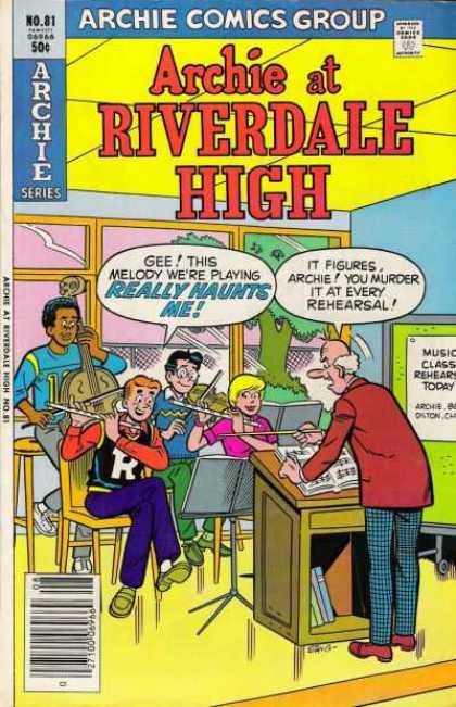 Archie at Riverdale High 81 - No 81 - Archie Comics Group - 50 Cents - Music Class Rehersal - Flute - Stan Goldberg