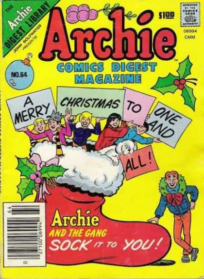 Archie Comics Digest 64 - Archie Digest Library - Approved By The Comics Code - Woman - Man - A Merry Christmas To One And All