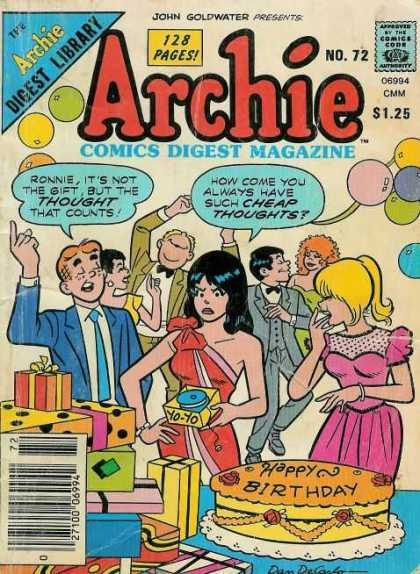 Archie Comics Digest 72 - Archie - Birthday Party - Birthday Cake - Balloons - Gifts