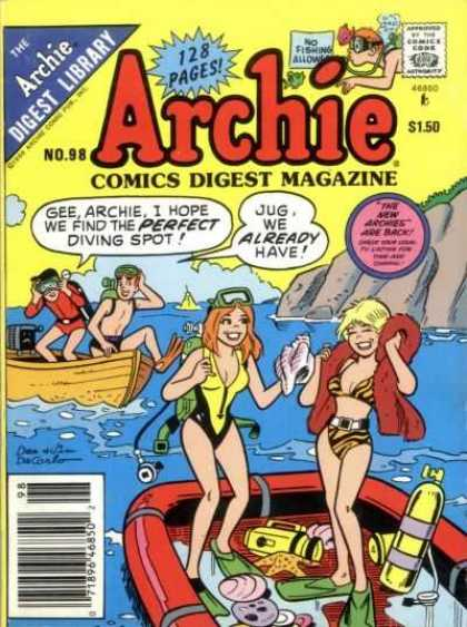 Archie Comics Digest 98 - Comics Digest Magazine - 128 Pages - Jughead - No Fishing Allowed - Boat