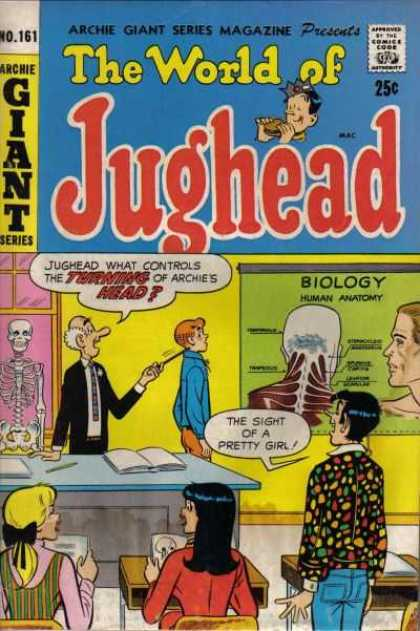 Archie Giant Series 161 - The World Of Jughead - Turning Of Archies Head - Biology Human Anatomy - Sight Of A Pretty Girl - Skeleton