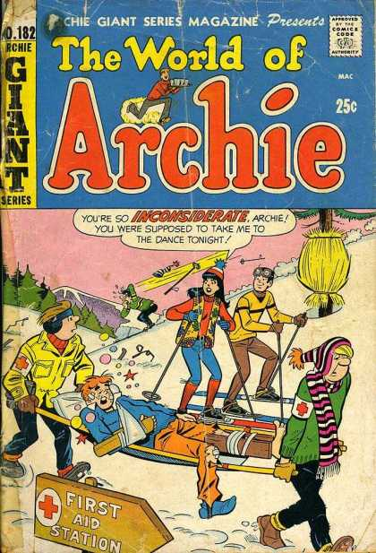 Archie Giant Series 182 - Betty - Veronica - Bronze Age - Skiing - Injury