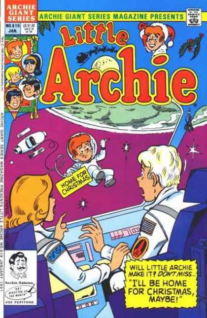 Archie Giant Series 619 - Little Archie - Ill Be Home For Christmas Maybe - Space - Spaceship - Astronaut