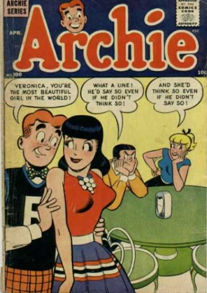 Archie 100 - Veronica - Approved By The Comics Code Authority - Apr - Chair - The Most Beautiful Girl