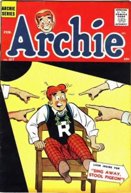 Archie 107 - Red Head - Riverdale High - Pointing Fingers - Plaid Pants - Wooden Chair
