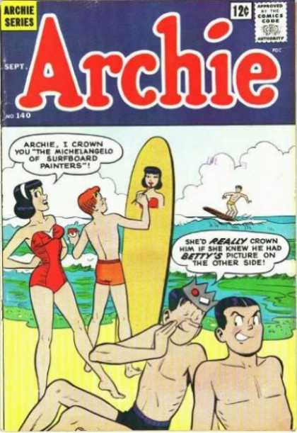 Archie 140 - Surfboard - Paint - Speech Bubble - Comics Code Authority - Beach