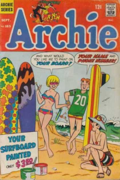 Archie 185 - Beach - Surfboards - Painting - Ocean - Sand