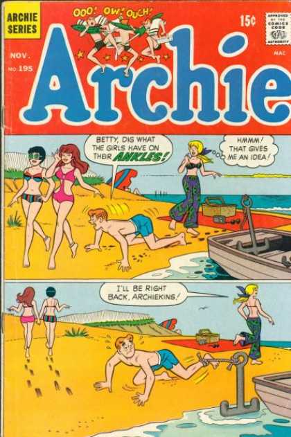 Archie 195 - Betty And Archie At The Beach - Anchor - Rowboat - Picnic - Bathing Beauties