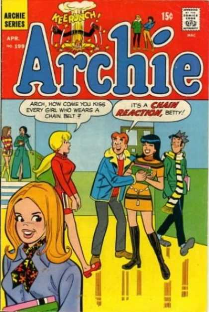 Archie 199 - Archie Betty And Veronica - Hall Of A High School - Chain Reaction - Jughead In Background - Issue Number 199