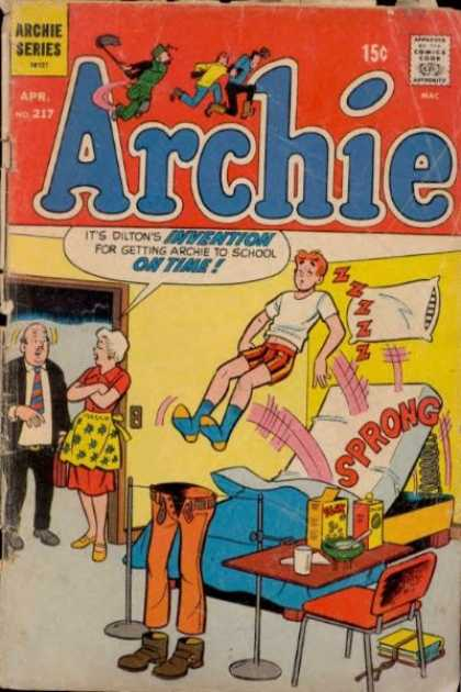 Archie 217 - Archie Sleeping - Cant Wake Up - Invention To Wake Up - Mechanical Bed - Jumping Into Pants