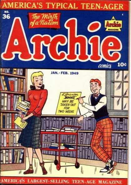 Archie 36 - Library - Books - Sign - Librarian - The Mirth Of A Nation