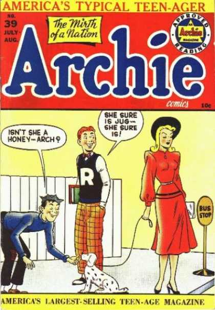 Archie 39 - Americas Typical Teen-ager - Approved Reading - Boy - Woman - Bus Stop