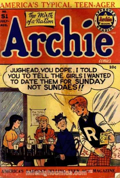 Archie 51 - Jughead - Letter R On Jacket - Drinking Sundaes - Girls - Mirror