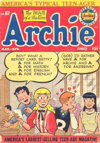Archie 67 - Americas Typical Teen-ager - Approved Reading - The Mirth Of A Nation - Man - Woman