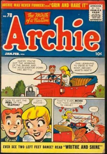 Archie 78 - The Mirth Of A Nation - Writhe And Shine - Red Car - Funny Lovers - Travel
