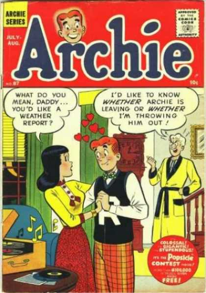 Archie 87 - Veronica - Red Hearts - Yellow Robe - Couch - Music Notes
