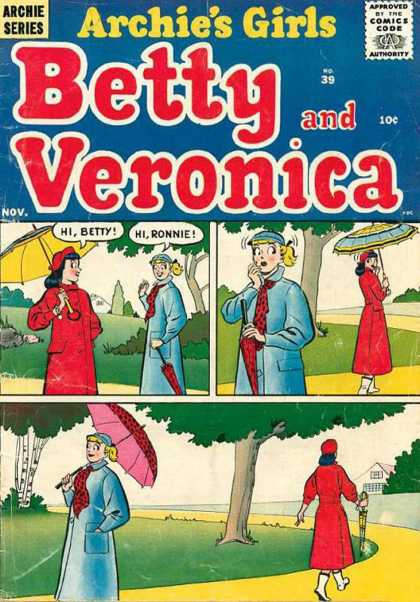 Archie's Girls Betty and Veronica 39 - Archie Series - Approved By The Comics Code Authority - Nov - Umbrella - Tree